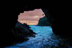 Cave Sunset Sea Wallpaper