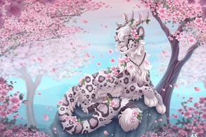 Cherry Blossoms Leopard Wallpaper