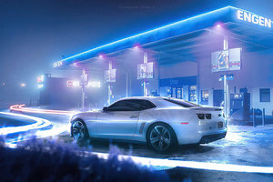 Chevrolet Camaro At Glowing Station Wallpaper