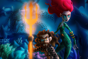 Chibi Aquaman And Mera Wallpaper
