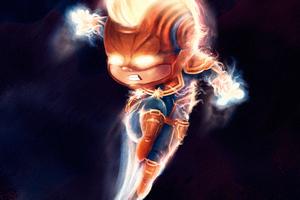 Chibi Captain Marvel 4k Artwork Wallpaper