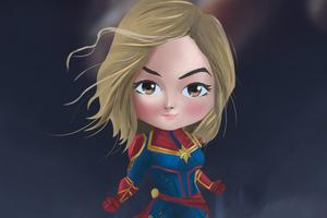 Chibi Captain Marvel 4k Wallpaper