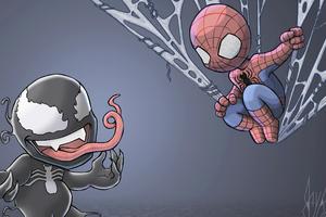 Chibi Spidey And Venom Wallpaper