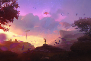 Child Flying Kite Fantasy Digital Art Wallpaper