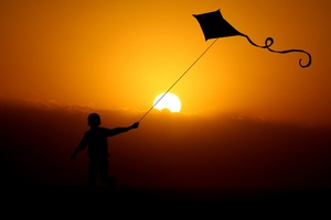 Children Flying Dragon Kite 4k