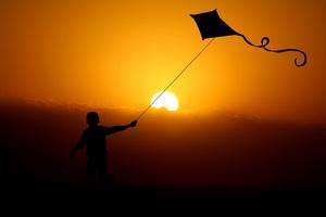 Children Flying Dragon Kite 4k Wallpaper