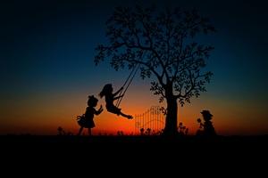 Children Play Swing Evening Sky Wallpaper