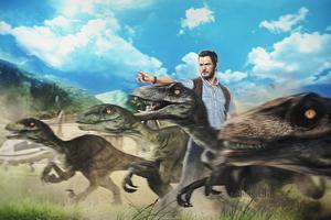 Chris Pratt Raptors Squad Artwork Wallpaper