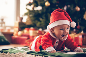 Christmas Baby Santa Outfit Wallpaper