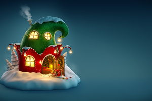 Christmas Fairy House 4k Wallpaper
