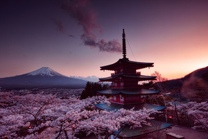 Churei Tower Mount Fuji In Japan 8k Wallpaper