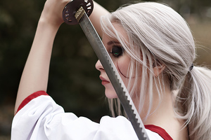 Ciri Witcher Samurai Cosplay 4k Wallpaper
