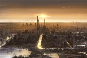 City Artwork Sunset 5k