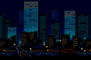 City Buildings Lights 8 Bit Wallpaper
