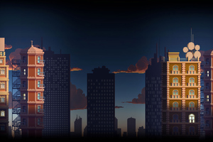 City Buildings Pixel Art 4k