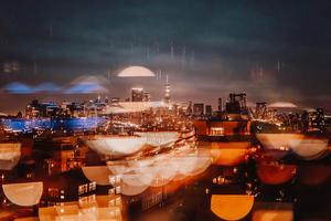 City Evening Buildings Bokeh 4k Wallpaper