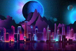 City Futuristic Retro 8k