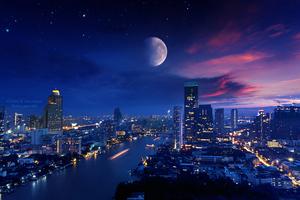 City Lights Moon Vibrant 4k