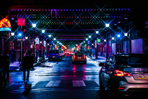 City Neon Lights Cityscape 5k