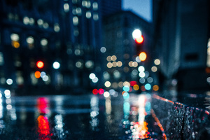 City Rain Blur Bokeh Effect