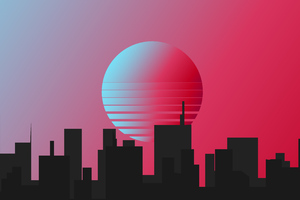 City Retrowave Minimal 4k Wallpaper