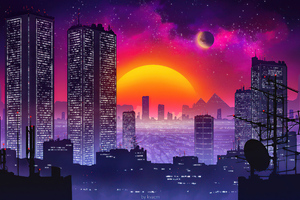 City Retrowave Sunset 5k Wallpaper