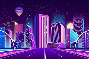 City Road Night Hot Air Balloons 5k Wallpaper