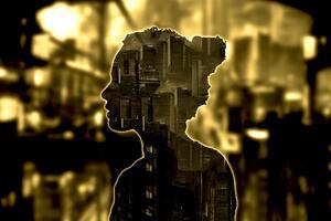 City Silhoutte Face Portrait 5k Wallpaper