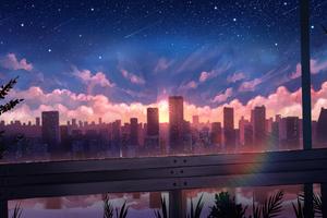 City Stars Meteors Digital Art