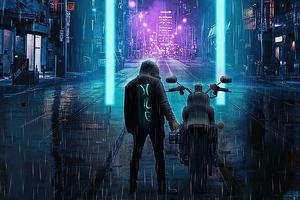 City Streets Cyberpunk Biker Wallpaper