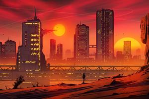 City Sun Down 4k Wallpaper