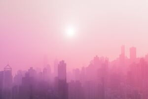 City Sunrise Pink Fog 5k