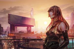 Cityscape Anime Girl Futuristic 4k Wallpaper