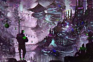 Cityscape Illustration Digital Art 4k Wallpaper