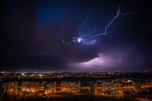 Cityscape Lightning Under Purple Sky 5k Wallpaper