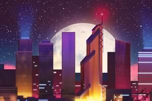 Cityscape Moon Stars 4k Wallpaper