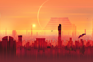 Cityscape Scifi Digital Art Wallpaper