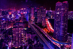 Cityscape Skyscraper Pink Lights Buildings 4k