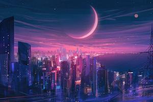 Cityscape Synthwave 5k Wallpaper