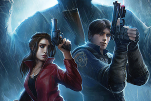 Claire Redfield And Leon Resident Evil 2 Art 4k