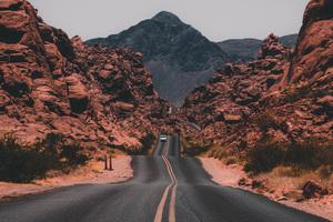 Cliff Valley Road Rocks 4k Wallpaper