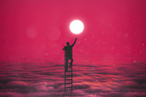 Climbing The Ladder To Touch The Moon Wallpaper