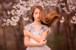 Closed Eyes Hair Blowing Wallpaper