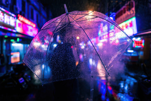 Closeup Umbrella Neon Night Photography 4k Wallpaper