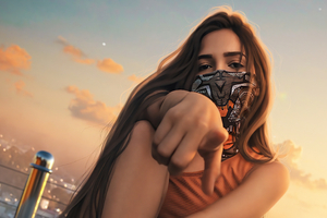 Cloth Mask Street Girl 4k Wallpaper