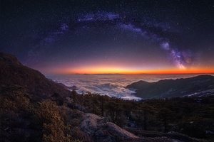 Cloud Landscape Milky Way Nature Night Panorama Sky Starry Sky Stars Wallpaper