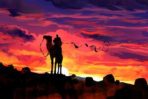 Clouds Dawn Camel Rider Fantasy Illustration 4k