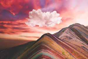 Clouds Over Vinicunca Rainbow Mountain 4k
