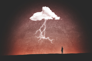 Clouds Thunder Minimalism Person