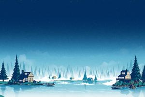 Cold Night Landscape Houses 4k